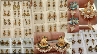 #Lalithajewellery#goldstoneearrungscollectionwithweight latest gold stone studds&hanging earrings