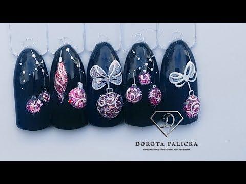 #33 Xmas nail art compilation, Christmas nails tutorial, 3d xmas bauble. Nail art Christmas baubles thumbnail