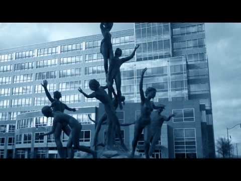 Musica Statue in the Music Row area of Nashville Tennessee,  filmed with the camera setting on Blue