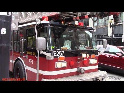 Chicago Fire Dept. Aerial Tower 1 & Engine 1 (both spares) Responding