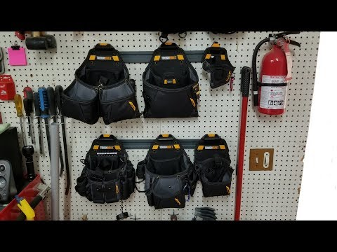 ToughBuilt modular tool belt setup with 5 pouches, 2 drill holsters and 2 different style belts