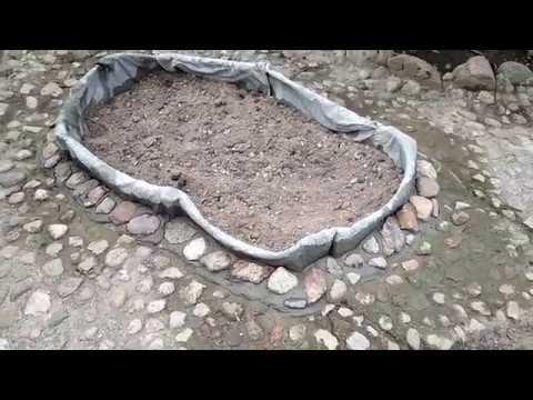 Бордюр из ткани,пропитанной цементом