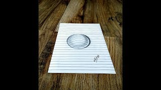 How to draw 3D Circle on line paper - 3D trick art on paper - Art Maker Akshay