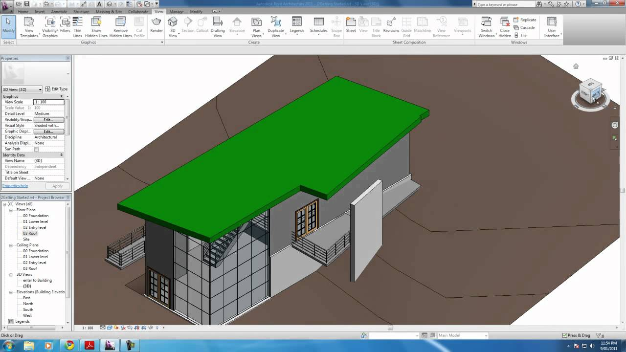 Autodesk Revit Tutorials 16 Modifying The Roof To Cover