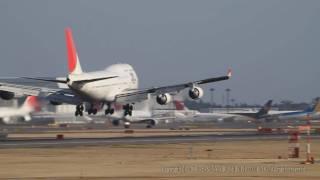 超絶 !!Amazing 滑走路ぎりぎりのすごいゴーアラウンドGo Around !! Heavy Crosswind Landing JAL B747 At NARITA (NRT) ゴーアラウンド
