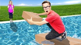 First to Build Bridge Wins $10,000! (Diy Challenge in Backyard Pool) Matt and Rebecca Video