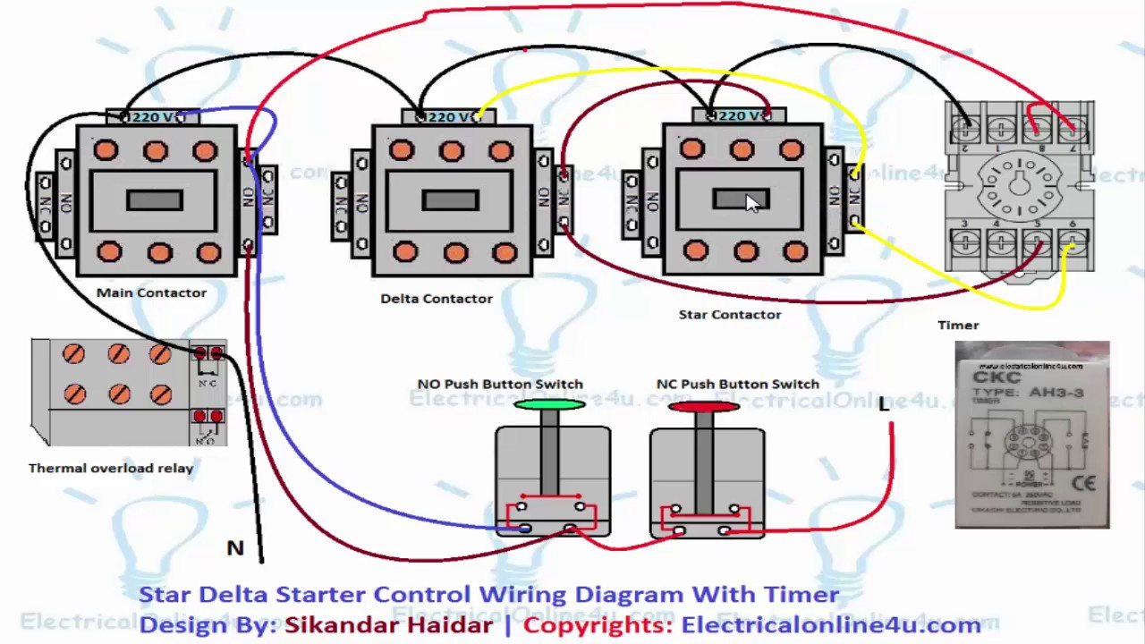 Star Delta Starter Wiring Diagram 3 Phase  For Motor And