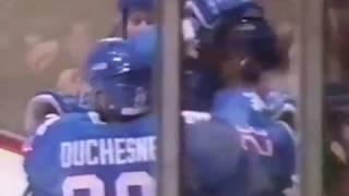 Alex Gusarov goalie save and pass to supergoal for Mats Sundin (1992)