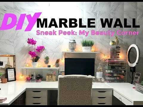 DIY Marble Wall..Sneak Peek at My Beauty Corner | DaringDiamond