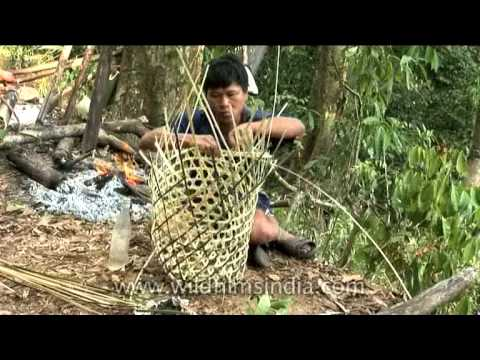Skilled Hunter Weaving A Basket From Scratch, Arunachal Pradesh