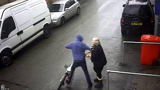 CCTV captures moment UK pensioner wrestles bike thief and wins.