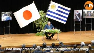 Former Uruguay President Jose Mujica speaks at Tokyo University of Foreign Studies