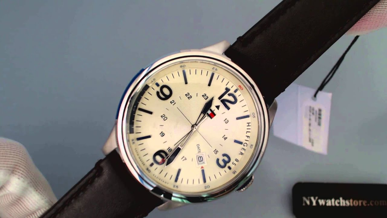 bcc4e83b Men's Tommy Hilfiger Hybrid Brown Leather Strap Watch 1791102 - YouTube