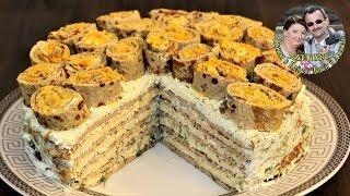 Печеночно Картошечный торт. Супер закуска. Печеночный торт.