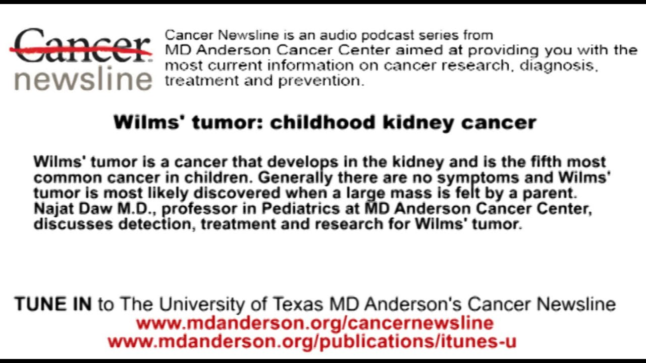 Wilms Tumor Detection Treatment And Research Youtube