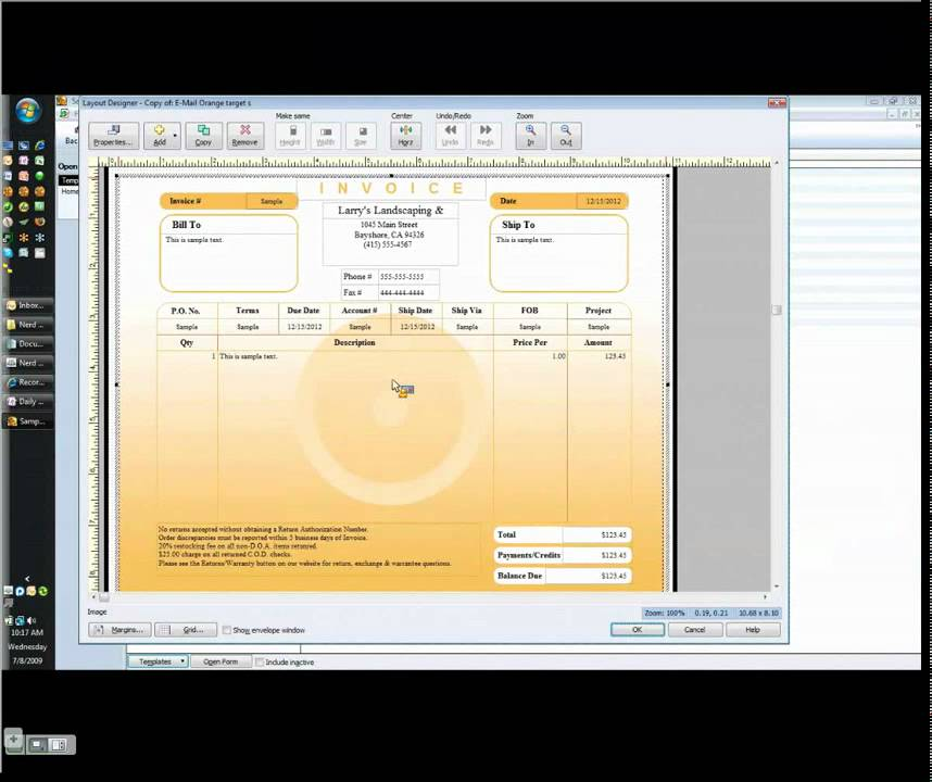 Customizing Your QuickBooks Invoice Template YouTube - Free google docs invoice template dollar store online