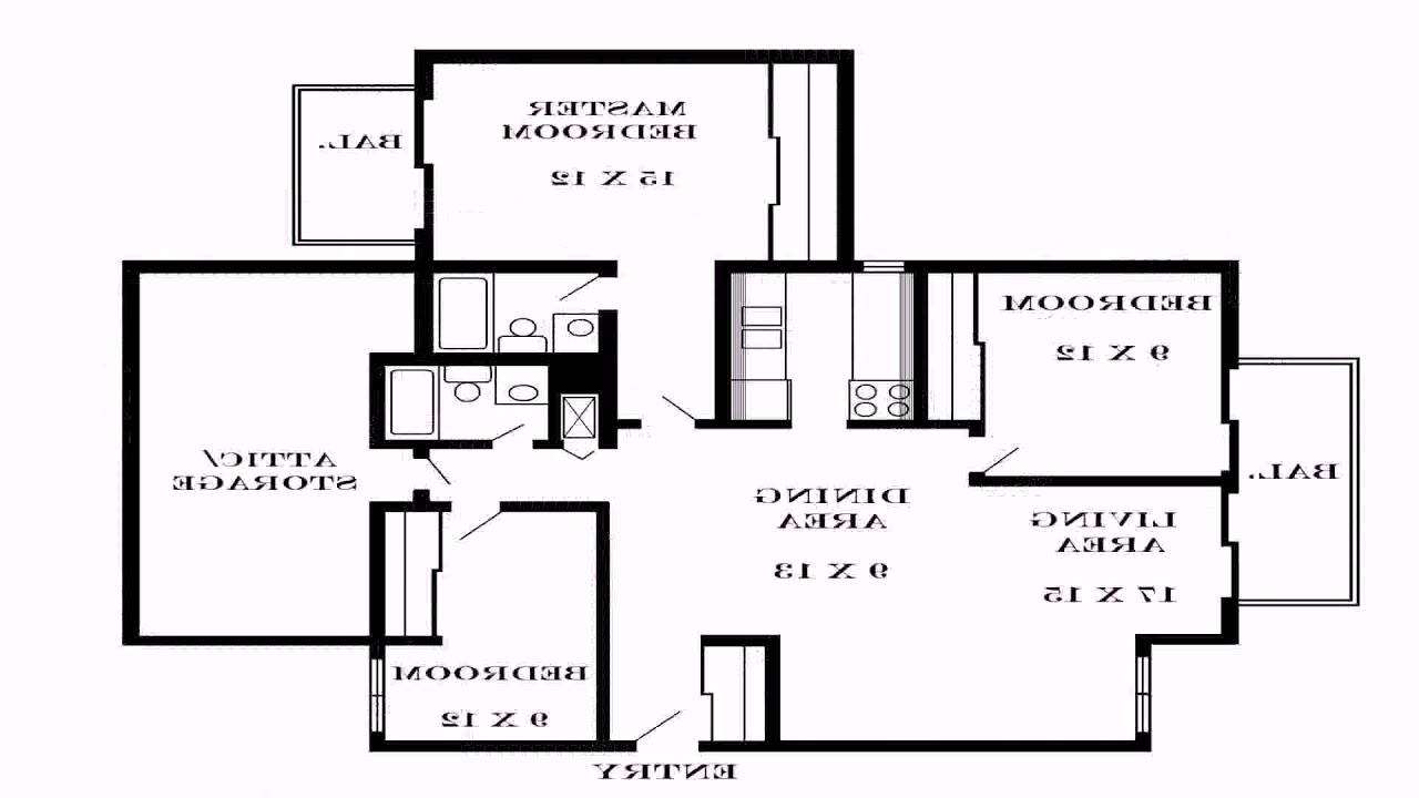 Simple house floor plan with dimensions youtube for Simple floor plan with dimensions