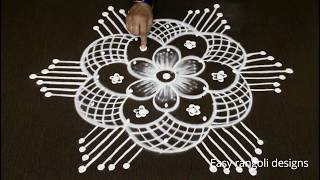 how to draw latest friday rangoli designs with dots # simple muggulu # easy kolam # rangavalli