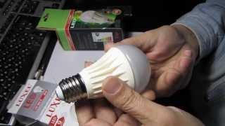 Тест № 3 Светодиодные лампы Luxel 9Вт и EUROLAMP 11Вт(Сегодня тестируем две светодиодные лампы 1- Luxel LED-060-N 9W за 90грн 2 - EUROLAMP LED-A60 11W за 100грн У EuroLamp заявлено 11Вт..., 2014-01-10T10:37:06.000Z)