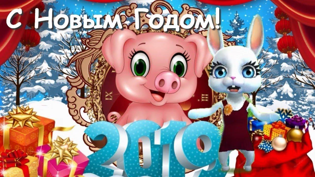 Видео поздравления с новым годом 2019 свиньи