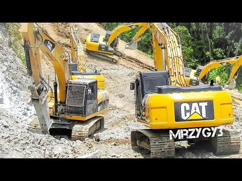 Excavator Dropping Rocks CAT 320D2 CAT336D LME
