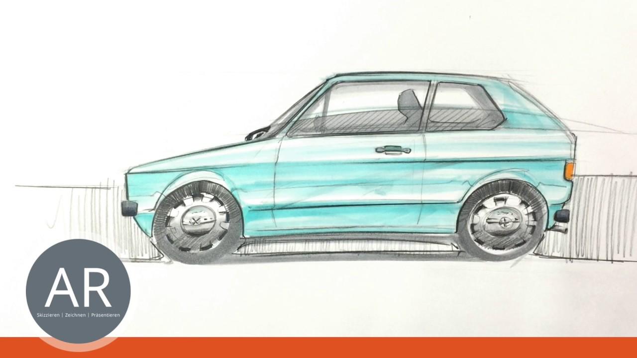 Auto-Skizzen. Hier ein Klassiker. Autos zeichnen lernen. Mappenkurs ...