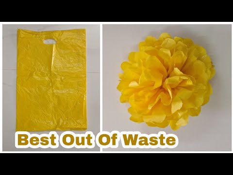 How To Make Flowers With Plastic Shopping Bags   DIY   Carry Bags Re Use Ideas   Best Out Of Waste