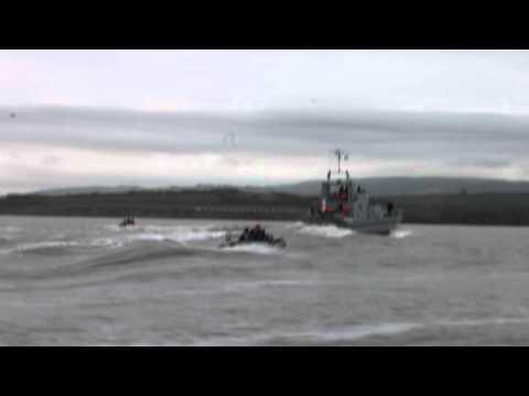 1st Watchet Sea Scouts - HMS Express approaching Watchet Harbour Feb 25th 2012