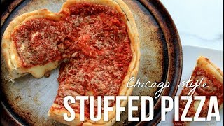 Heart Shaped Chicago Style Stuffed Pizza!!