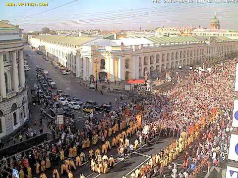 Крёстный ход на Невском проспекте Санкт-Петербурга 12.09.2013 с вебкамеры VPITER.COM