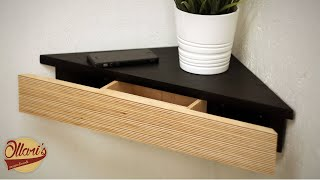 Modern Corner Shelf with Hidden Drawer and Secret Compartment