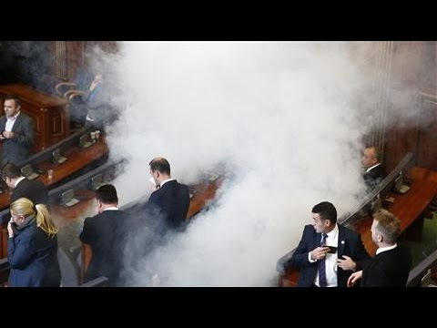 Lawmakers Fire Tear Gas in Kosovo's Parliament
