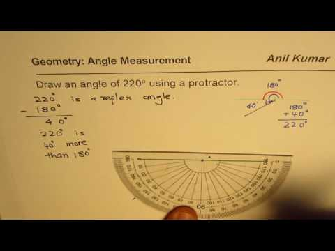 How to Draw 220 degrees Reflex Angle