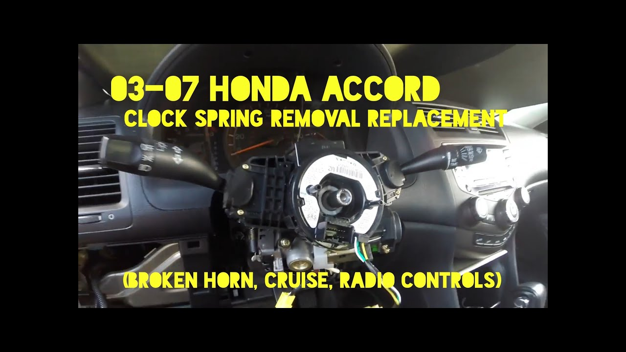 how to replace clock spring cable reel on 2003 2007 honda accord rh youtube com 2003 Acura RL 2003 Acura El Front Guard