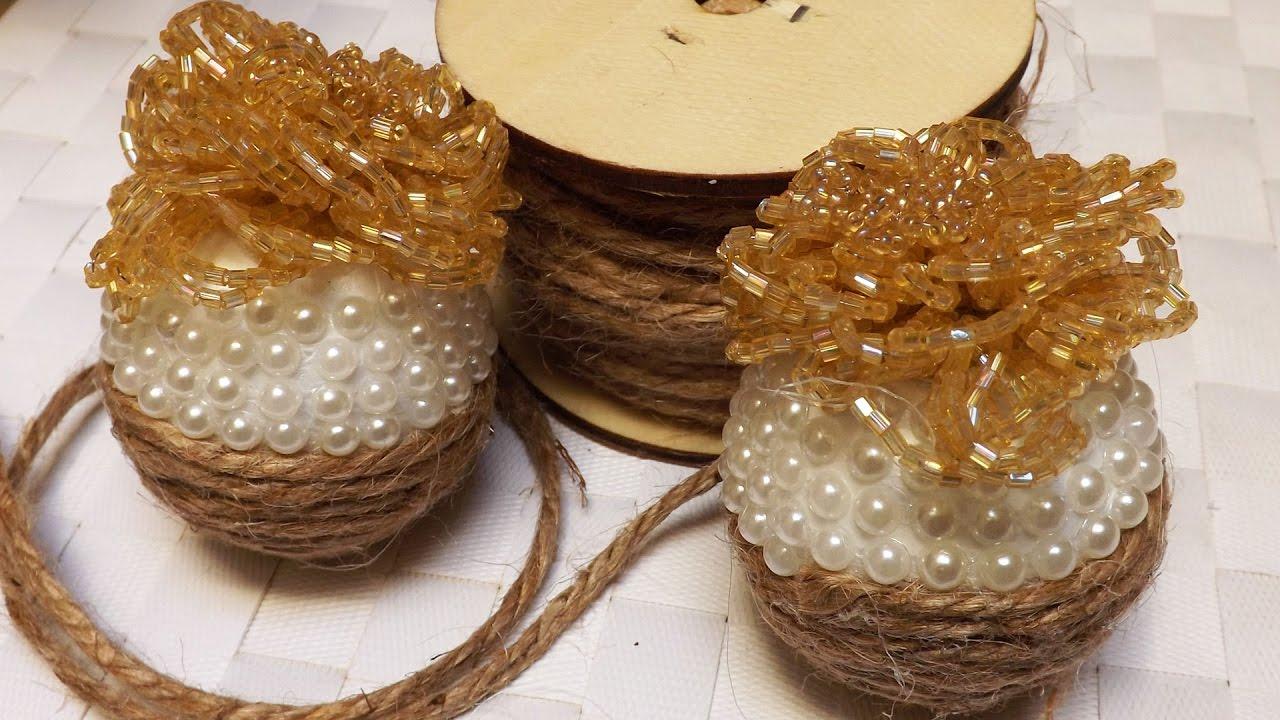 Sfere natalizie con cordino e perline decorazioni di for Decorazioni fai da te