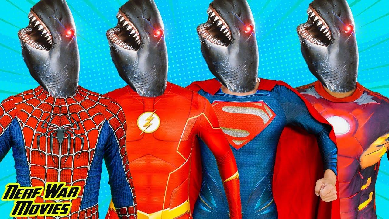 Nerf War Movies: Captian X Warriors Nerf Guns Fight Criminal Group Rescue Friend From Monster Shark