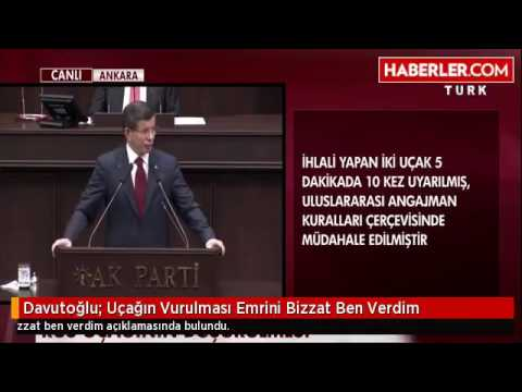 Başbakan Ahmet Davutoğlu  Rus Uçağının Vurulması Emrini Bizzat Ben Verdim