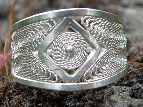 Jewellery making filigree wire silver ring