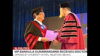 MP Bandula awarded with a degree from China (English)