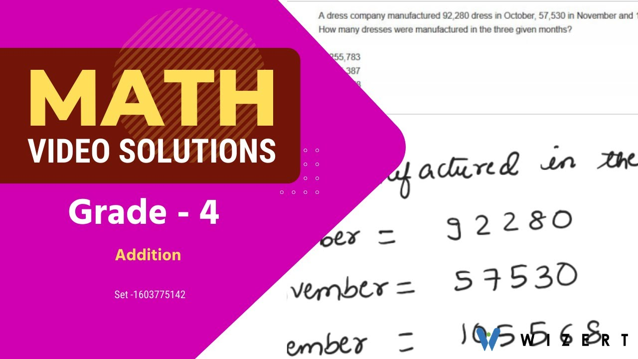 Grade 4 Mathematics Worksheets - Addition worksheet pdfs for Grade 4 - Set  1603775142 - YouTube [ 720 x 1280 Pixel ]