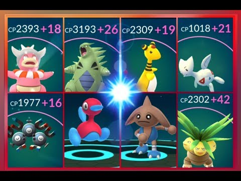 Pokémon GO Evolving & Maxing out 100% IV Slowking~Ampharos Tyranitar Porygon 2 Togepi & more