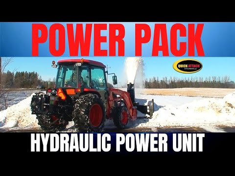 Quick Attach PTO to Hydraulic Power Unit & Snowblower for Compact Tractors