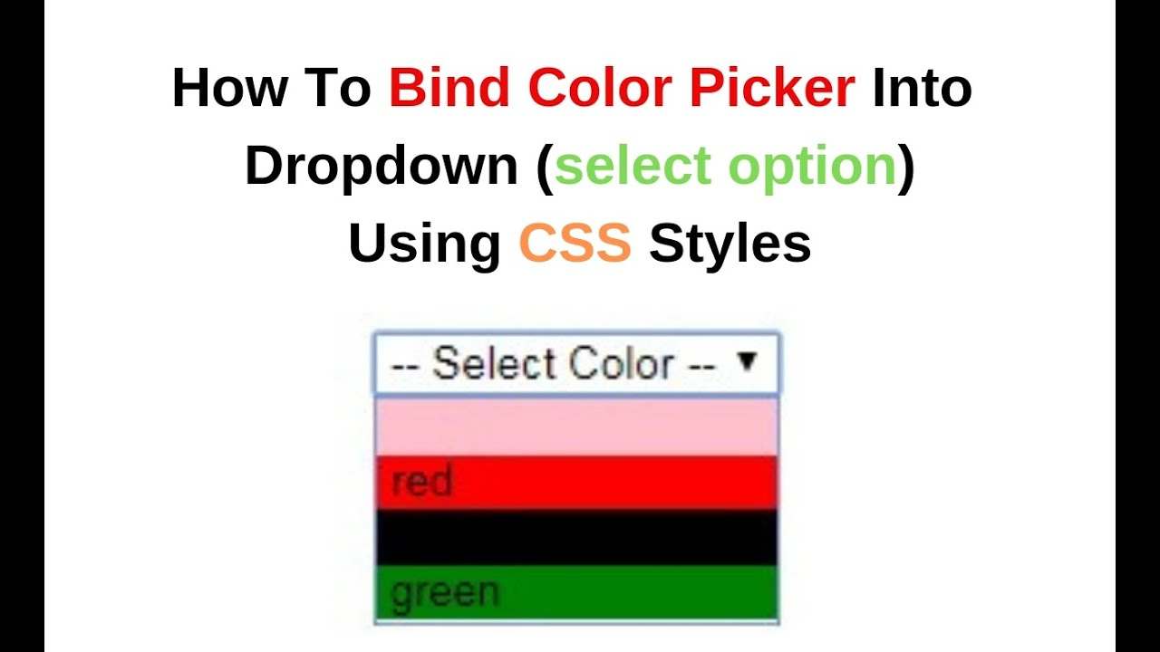 bind color picker in dropdown select option css