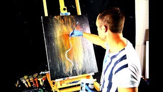 Video Abstract painting - flaming tree - round brush on black canvas download MP3, 3GP, MP4, WEBM, AVI, FLV Agustus 2018