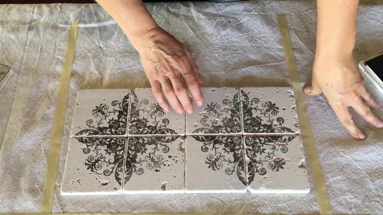 Diy Vintage Tile Using Iod Stamps Youtube