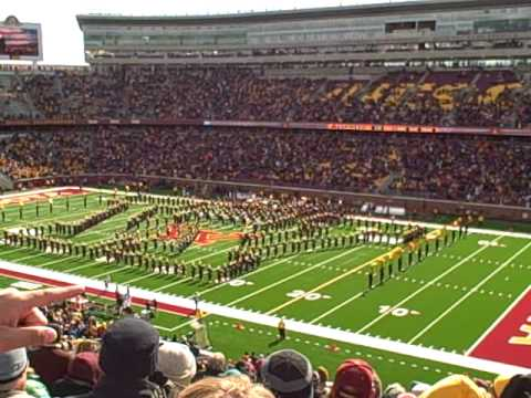 university of minnesota rouser u of m marching band at 2009 homecoming football game at tcf. Black Bedroom Furniture Sets. Home Design Ideas
