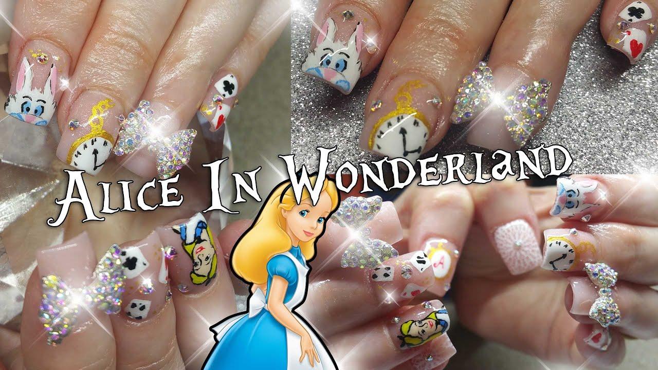 alice in wonderland nail art design nail art youtube