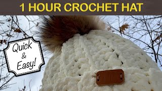 EASY CROCHET WINTER HAT - 1 HOUR