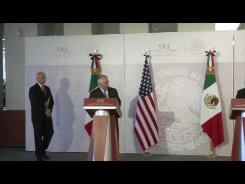 Mensaje a medios Secretarios Luis Videgaray, Osorio Chong, Rex Tillerson y John Kelly
