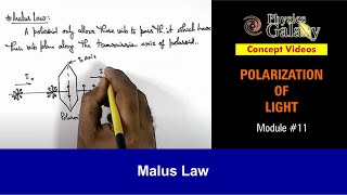 11. Physics | Polarization of Light | Malus Law | by Ashish Arora